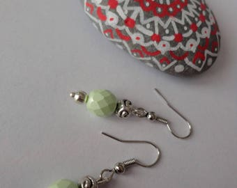 Minimalist earrings, silver and Aqua Green