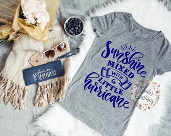 Sunshine hurrican shirt//tops for her//summer tee shirt//women vneck humor tee