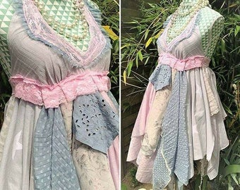 Bohemian chic naked back dress, Pastel dress shabby chic. Fairy tale dress, Princess dress. Stevie Nicks style, Hippie festival clothing.