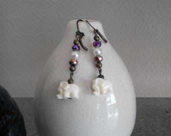 Elegant Pearl and Shiny Dangle Earrings with White Elephant