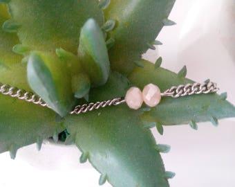 Minimalist Choker with Beautiful White Faceted Shiny Beads