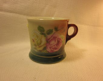 Gorgeous antique C.T Altwasser Silesia shaving mug, made in Germany, hand-painted roses