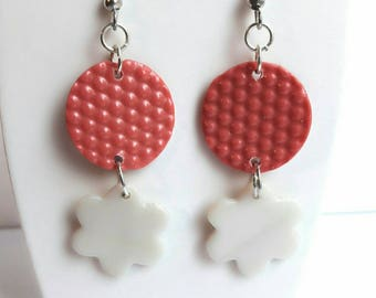 Coral and mother of Pearl dangling earrings
