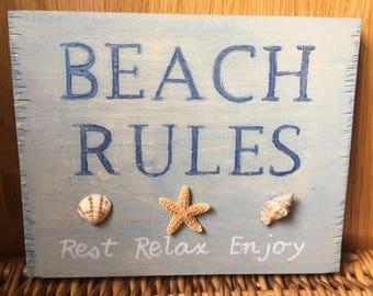 Wooden Beach Saying