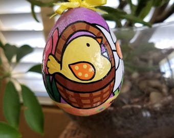 Easter Egg, Chick in a Basket hand painted Easter egg ornament
