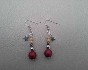 Earrings red gold silver