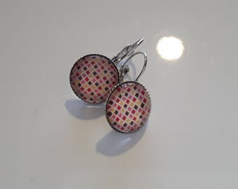 Lever back earrings silver and cabochon