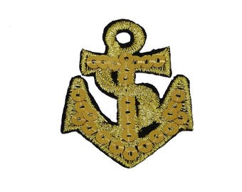 Patch/ironing-anchor with sequins-gold-5.4 x 4.2 cm-by catch-the-Patch ® patch appliqué applications for ironing application patches patch