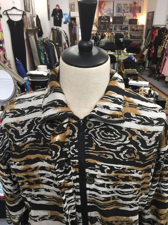 Vintage 1990s Men's Silk Tiger Print Patterned Bomber Jacket
