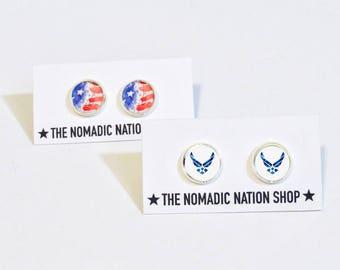 Patriotic Accessories- Air Force Earrings- Air Force Accessories- Military Accessories- Air Force Gift- Air Force Wife- Air Force Girlfriend