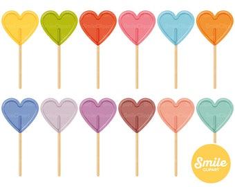 Heart Lollipop Clipart Illustration for Commercial Use | 0541