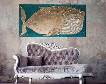 Humpback whale art original textured painting ready to hang teal gold grey white 48x24