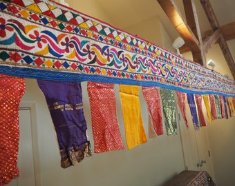 Huge Vintage Indian Holy Antique Gujarat Temple Hippe Toran Trim Valence Textile Bunting Flag Wall Hanging