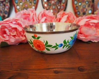 Hand Painted Kashmir Enamelware Gypsy Hippie Floral Shabby Chic Glamping Dessert Bowl