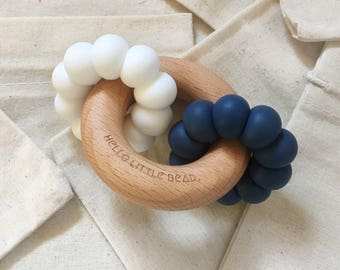 DUO Teether - Navy and White Teether - Silicone and Beech Teething Ring - Silicone Bead Teether - Baby Teething Toy - Wooden Teether