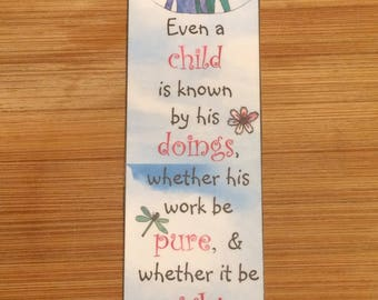 Bible Verse Bookmark - Proverbs 20:11 -  handmade WITHOUT tassel  (stock #21) even a child is know by his doing