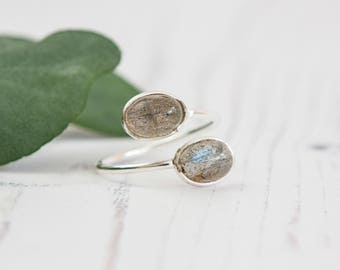 Open Adjustable Sterling Silver Ring with two Labradorite Gems - Handmade Ring