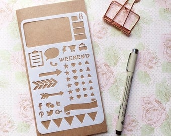 Bullet Journal Stencil #8 - Planner, Journal, Craft, Scrapbooking, Decoration