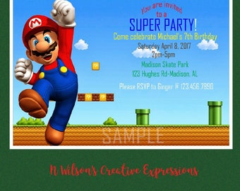 Super Mario Brothers Video Game 5th, 6th, 7th, 8th, 9th, 10th Birthday Invitation, Invite