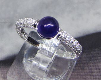 Ring Cabochon silver Amethyst size 52