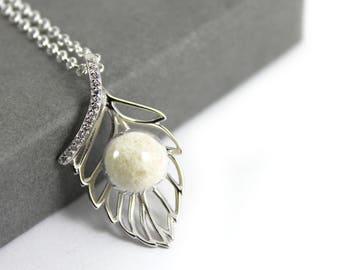 DIY Breast Milk Pearl Sterling Silver Leaf Necklace Kit, Do it Yourself DNA Breastmilk keepsake