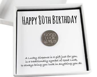 Happy 80th Birthday Lucky Sixpence Keepsake Gift,  Good Luck Present, Lucky Coin
