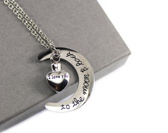 I Love You to the Moon and Back Urn Necklace , Memorial Jewellery, Cremation Jewelry, Angel in my Heart Urn Necklace