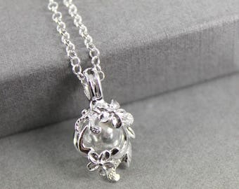 """Sterling Silver Flower """"Forget me Not"""" Locket with Fillable Glass Orb, Memorial Jewellery, Urn Locket, Fillable Jewelry, Cremation necklace"""