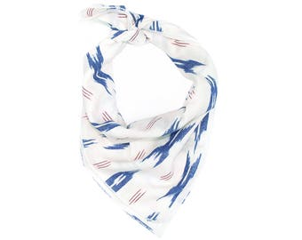 Red White & Blue Ikat Pattern Bandana // Scarf // Wrap // Headband // Neckerchief // Neck Tie