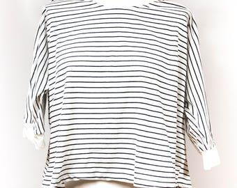 Oversized blouse, womens blouse, striped blouse, cotton blouse, blouse vintage, vintage blouse, size M / L, 3/4 sleeved blouse, large blouse