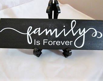 "Distressed Wood Sign, Say's ""FAMILY Is Forever"" .. Charcoal Metallic Black and White Letters...Home and Living,Wall Decor, Makes Great Gift!"