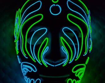 Bassnectar 808 Glow Mask! Dual Color Exclusive Light Up EL-Wire Design, Nectar, Basshead, Halloween, Festivals, Raves, Promo Events & More