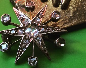 RESERVED ONLY for DEE  Diamond Star Brooch Rose Cut Diamonds Final Payment