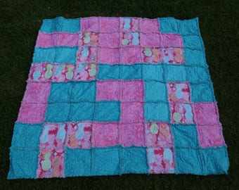 Cute Pineapple rag quilt, multi-color,55x57, Pink, Blue