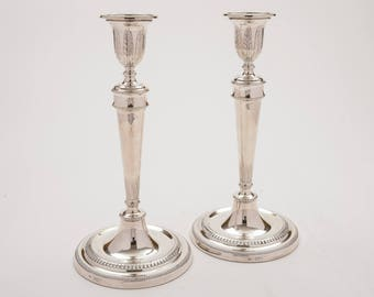 Pair of Tall Silver Candlesticks, London 1912