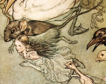 Alice Adventures in Wonderland Pool of Tears by Arthur Rackham Wall Art Print Poster A3 A4