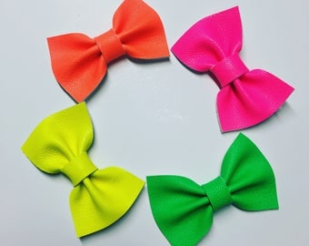 Faux Leather Maci Bow{neon green}