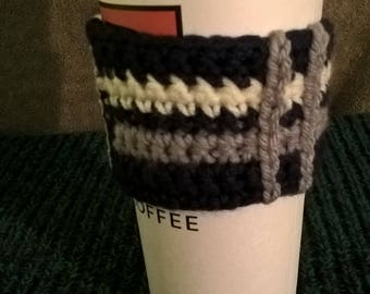 Coffee Sweater, coffee cup cozy cozie, navy blue with white and gray stripes