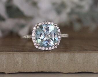 White Gold 9mm Cushion Aquamarine Engagement Ring, Wedding Ring, 14k, White Gold Ring, Bridal Ring, Diamond Halo Natural Aquamarine Ring
