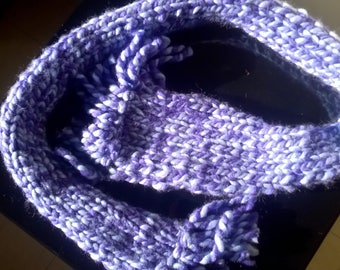 Hand knitted two-tone fringed scarf
