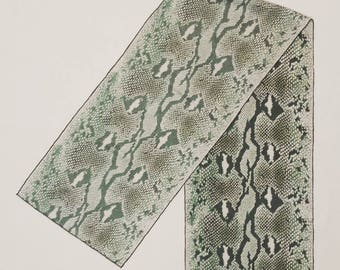 1980's Echo silk scarf - snake skin (green/grey)