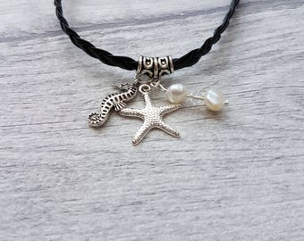 Seaside Charm Bracelet, Seaside Jewelry, Sea inspired Jewelry, Leather charm bracelet, Pearl bracelet, starfish bracelet, Seahorse bracelet