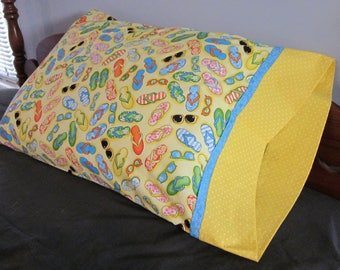 Pillowcase - Flip Flops and Sun Glasses. Fits standard Size Pillows.  Great Novelty Gift for Any Age.