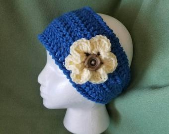 Crochet Headband Ear Warmer w/ flower and button closure