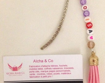 Pink personalized metal bookmark