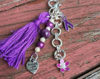Fibromyalgia awareness Planner charm, bag charm, boho tassel keychain, tassel clips, purse tassel, planner tassel charm, stitch marker