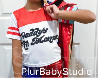 Harley Quinn Girls Costume, Harley Quinn T-Shirt Kids Version, daddy's lil monster T shirt and Shorts Version