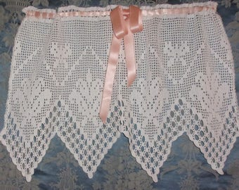 A curtain decor, old lace, shabby, lilies