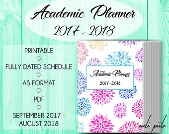 Academic Planner 2017-2018, Printable Student Planner, College Planner, Weekly Schedule Printable, Monthly Schedule, Student Diary, School