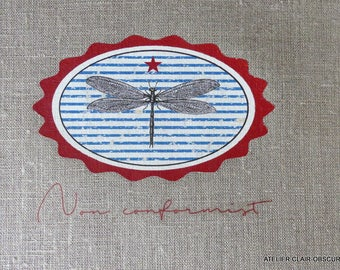fabric sewing graphics dragonfly